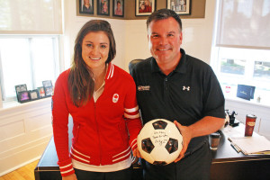 Local soccer star Christina Julien visits with Team Cornwall